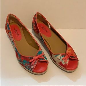 Softapots peach with floral slip on shoe